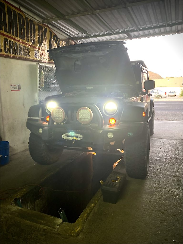 Jeep getting maintenance in Baja, Mexico. We felt safe.